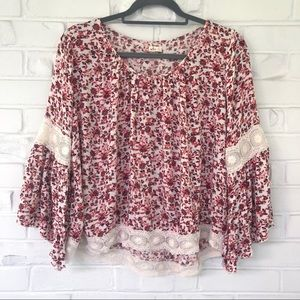 Hollister Bell Sleeve Floral Boho Top Sz Medium